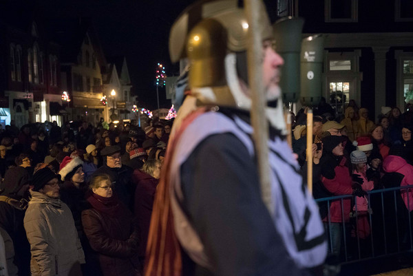 """SAM GORESH/Staff photo. The crowd single """"Silent Night,"""" a the end of the 71st Annual Rockport Christmas Pageant. 12/17/16"""
