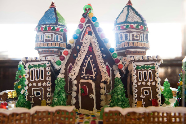 SAM GORESH/Staff photo. A gingerbread house on display at City Hall's Kyrouz Auditorium during the Middle Street Walk. 12/10/16