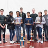 SAM GORESH/Staff photo. Members of Gloucester High School's JRROTC drill team pose for a portrait with their trophies after winning the Northeast Regional championships and earning a spot in the JROTC nationals in April in Irving Texas. 12/13/16