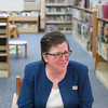 SAM GORESH/Staff photo. Meredith Fine, president of the Sawyer Free Library's board discusses the library's plans for a new wing. 12/5/16