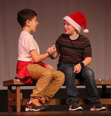 "MIKE SPRINGER/Staff photo   <br /> Jackson Altieri, left, and Phin Kelly rehearse a scene in ""The Best Christmas Pageant Ever,"" at Rockport Middle School on Tuesday.<br /> 12/12/2017"
