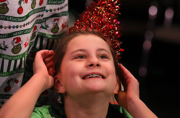 MIKE SPRINGER/Staff photo   <br /> Eight-year-old Scarlet Lee plays Nice, Mrs. Claus's favorite elf, in the annual Holiday Delights show presented by the Youth Acting Workshop at the Gloucester Stage.<br /> 12/09/2017
