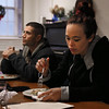 MIKE SPRINGER/Staff photo   <br /> Michelle Boardman and Dave Perez eat lunch Tuesday at the Grace Center day shelter in the basement of the Unitarian Universalist Church in Gloucester.<br /> 12/12/2017