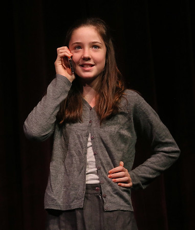 """MIKE SPRINGER/Staff photo   <br /> Pilar Davis rehearses a scene in """"The Best Christmas Pageant Ever"""" Tuesday at Rockport Middle School.<br /> 12/12/2017"""