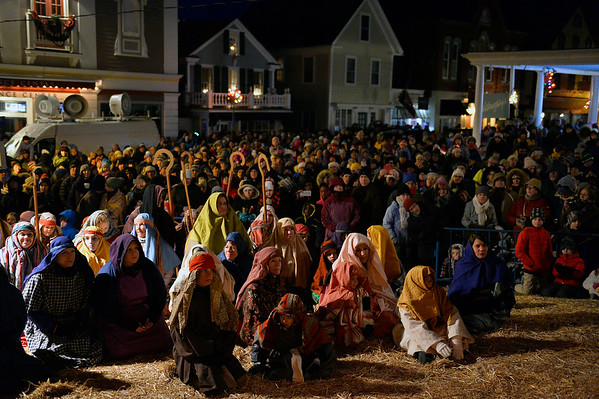 Hundreds, including the actors, packed the Nativity scene at the First Unitarian Universalist Church during the Rockport Annual Christmas Pageant in Rockport on Saturday December 16, 2017.  JOSEPH PREZIOSO/Photo