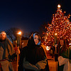 Mary, played by Micaela Coonley waits for the march to start at the Rockport Annual Christmas Pageant in Rockport on Saturday December 16, 2017.  JOSEPH PREZIOSO/Photo