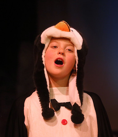 MIKE SPRINGER/Staff photo   <br /> Nine-year-old Elliana Parsons plays a penguin who pines for warm weather in the annual Holiday Delights show presented by the Youth Acting Workshop at the Gloucester Stage.<br /> 12/09/2017
