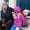 AMY SWEENEY/Staff photo. Maia Day, 8, sits with her mother Sara and dog Sadie after visiting Santa on Christmas morning in Rockport. <br /> 12/25/17