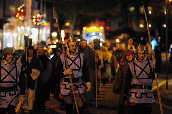 Roman soldiers lead the march at the Rockport Annual Christmas Pageant in Rockport on Saturday December 16, 2017.  JOSEPH PREZIOSO/Photo
