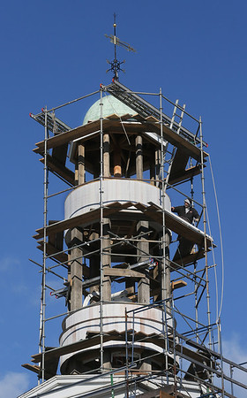 MIKE SPRINGER/Staff photo   <br /> A worker with the Salem-based American Steeple and Tower company makes progress Monday on the bell tower of the First Congregational Church in Rockport.<br /> 12/11/2017