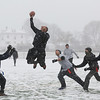 MIKE SPRINGER/Staff photo   <br /> Mike Degeis of the Navy team intercepts a pass thrown by the Army quarterback during the first-ever Army-Navy flag football game for veterans on Saturday at Newell Stadium in Gloucester.<br /> 12/09/2017