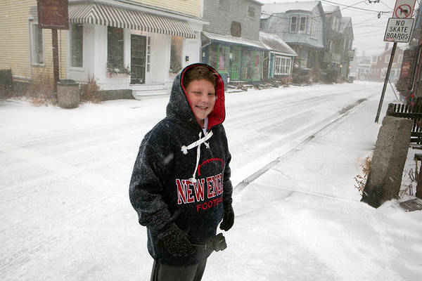 AMY SWEENEY/Staff photo. Billy Franklin, 10, from Gloucester waits for Santa to arrive in Rockport Christmas morning. <br /> 12/25/17
