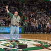 Desi Smith Photo.  Gloucester resident Stephen Tyler ,founder of To Show We Care, receives applause from around 17,000 Celtic fans after receiving the Heroes Among Us award form the Boston Celtics organizaition Wednesday night at the TD Garden in Boston.