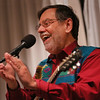"""MIKE SPRINGER/Staff photo   <br /> Roger Tincknell of Shutesbury performs Wednesday at the Rockport Public Library. He and Davis Bates of Shelburne Falls presented a program,  """"Celebrating the Season: Songs and Stories for the Winter Holidays,"""" featuring music from around the world.<br /> 12/26/2017"""
