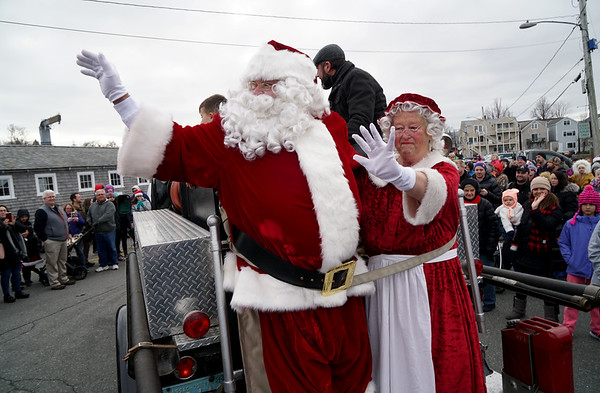 Santa arrives by lobster boat in Rockport