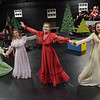 TIM JEAN/Staff photo<br /> <br /> Little women sisters from left, April Smith, Gabil Cros, Marion Healey and Julia Drost sing and dance during a dress rehearsal for Gloucester Stage Company's production of Holiday Delights. 12/4/18