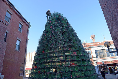 TIM JEAN/Staff photo  Dave Brooks of Gloucester, stands on top as he secures the lobster traps on top of the Lobster Trap Christmas tree in downtown Gloucester. The tree will be light on Saturday, with new LED colorful lights.     12/4/18