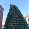 TIM JEAN/Staff photo<br /> <br /> Dave Brooks of Gloucester, stands on top as he secures the lobster traps on top of the Lobster Trap Christmas tree in downtown Gloucester. The tree will be light on Saturday, with new LED colorful lights.     12/4/18
