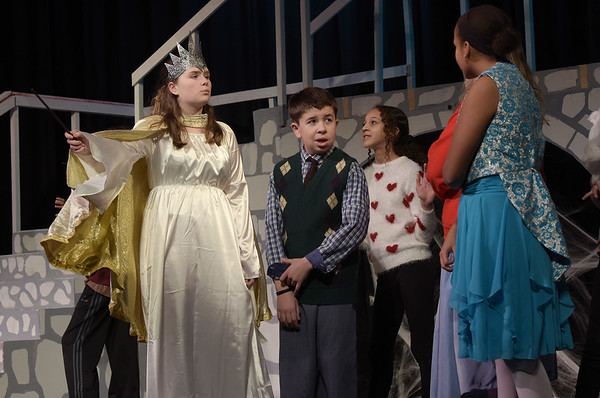 TIM JEAN/Staff photo<br /> <br /> Morgan Reilly, left, as The White Witch tells her dwarfs to tie up Jackson Altieri as Edmund during a rehearsal of Rockport Middle School's performance of C.S. Lewis' The Lion, the Witch and the Wardrobe.  12/11/18