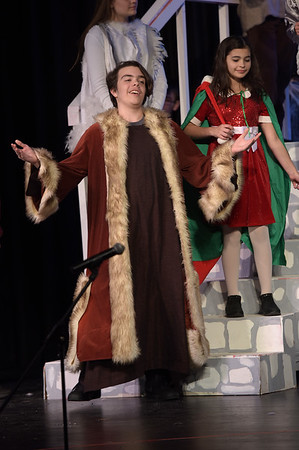 TIM JEAN/Staff photo<br /> <br /> Sebastian Lovasco as Father Christmas and Lizzie Harrison as an Elf perform on stage during a rehearsal of Rockport Middle School's performance of C.S. Lewis' The Lion, the Witch and the Wardrobe.  12/11/18