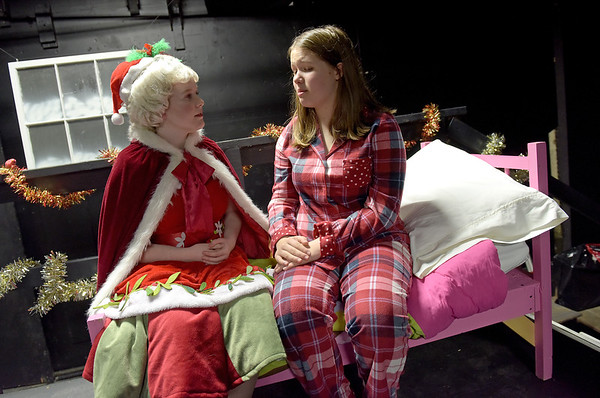 TIM JEAN/Staff photo<br /> <br /> Meagan Gallo, left, as Mrs Clause, and Anya Lichtenwald as Anya read through their lines during a dress rehearsal for Gloucester Stage Company's production of Holiday Delights. 12/4/18