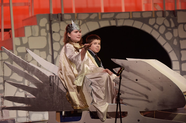TIM JEAN/Staff photo<br /> <br /> Morgan Reilly, as The White Witch and Jackson Altieri as Edmund during a rehearsal of Rockport Middle School's performance of C.S. Lewis' The Lion, the Witch and the Wardrobe.  12/11/18