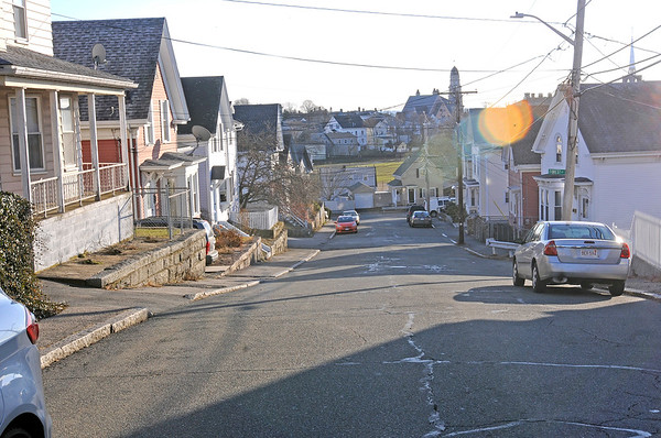 TIM JEAN/Staff photo<br /> <br /> Looking down-hill along Trask Street in Gloucester. Work is expecteted to begin in the spring on a major sewer project on Trask, Shepherd, Warner, Millett and Sargent Streets. 12/12/18