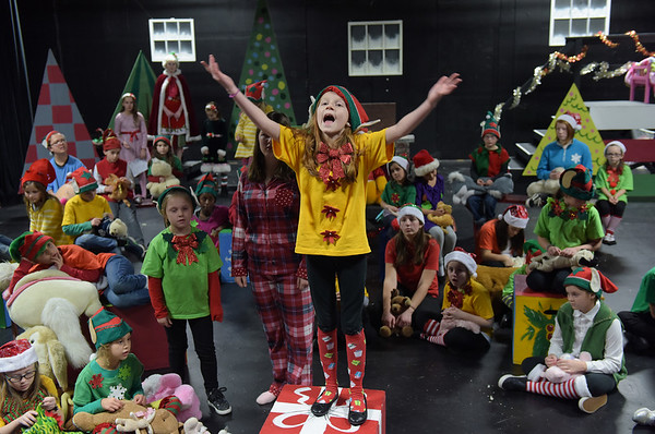 TIM JEAN/Staff photo<br /> <br /> Naia Gibson, as Elf Snowglobe, reacts to the news of Christmas without the toys, during a dress rehearsal for Gloucester Stage Company's production of Holiday Delights. 12/4/18