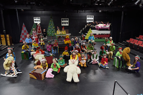 TIM JEAN/Staff photo<br /> <br /> The entire cast sings a song during the Elf scene  of a dress rehearsal for Gloucester Stage Company's production of Holiday Delights. 12/4/18