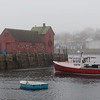 TIM JEAN/Staff photo<br /> <br /> A seagul sits on top of Motif No. 1 in Rockport harbor on a foggy day on Cape Ann.  12/21/18