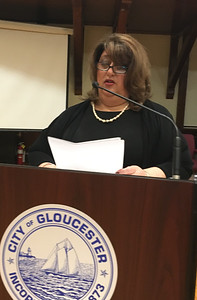 RAY LAMONT/Staff photo Mayor Sefatia Romeo Theken delivers her 2017 State of the City address to City Council at City Hall's Kyrouz Auditorium on Tuesday night.