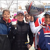 John Castelluccio/Staff photo<br /> Tuesday morning, from left, Randi McKay, Holly Ryan, Timmy Camille and Teresa Zerilli where at the Railroad Avenue commuter rail station to ride the MBTA into Boston where they were to watch the Patriots parade.