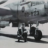 A young Donald Blaskovich poses in front of a B-25 Billy Mitchell bomber in 1953 at Mather Air Force Base near Sacramento, California.