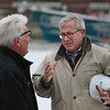 MIKE SPRINGER/Staff photo<br /> Lee Dellicker, right, CEO of Windover Construction, talks with Marc Vidal, co-founder and board member of the Gloucester Marine Genomics Institute, following a ground-breaking event Friday morning for a new waterfront facility that will house the institute at 417 Main Street in Gloucester.<br /> 02/02/2018