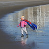 MIKE SPRINGER/Staff photo<br /> Eighteen-month-old Izzy Ekberg of Stoneham plays by the water before the start of the Gloucester Rotary Club's 8th annual Polar Plunge on Saturday at Long Beach in Gloucester. Izzy, who did not go into the water, was at the event to watch her father, Jeff, and sister, Alexandra, take the plunge.<br /> 02/03/2018