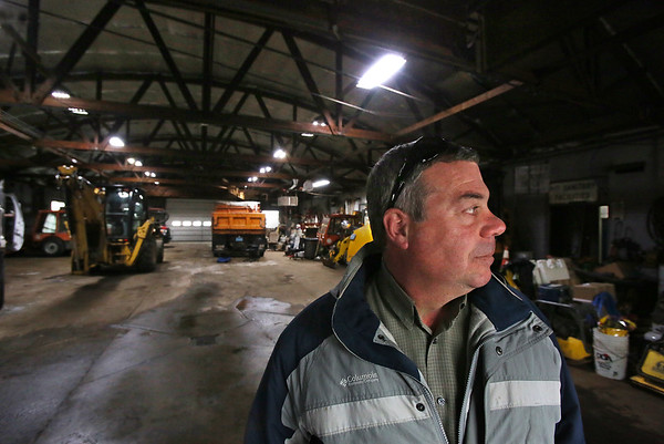 MIKE SPRINGER/Staff photo<br /> Rockport public works director Joe Parisi looks around the town's aging DPW garage and facility, which he says is seriously inadequate for his department's needs.<br /> 2/7/2018