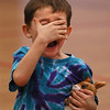 MIKE SPRINGER/Staff photo<br /> Five-year-old Tripp Buotte reacts in shock at the appearance of a new snake during a presentation on snakes Tuesday at the Cape Ann YMCA.<br /> 2/20/2018