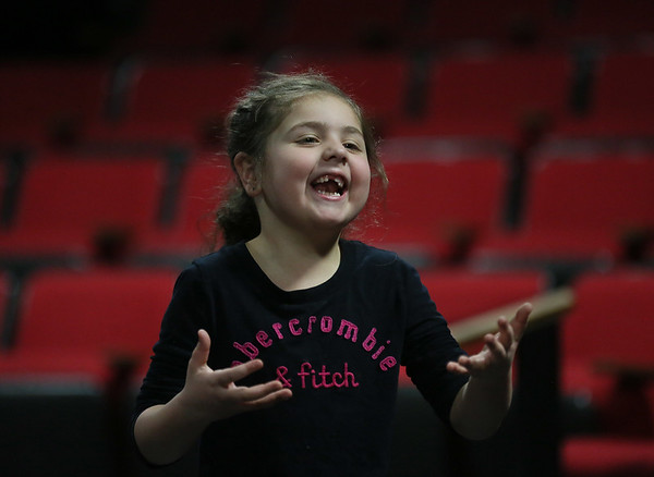 MIKE SPRINGER/Staff photo<br /> Five-year-old Bianca Numerosi of Gloucester takes part in an acting exercise during the Gloucester Stage's Youth Acting Workshop at the Gorton Theatre.<br /> 2/9/2018