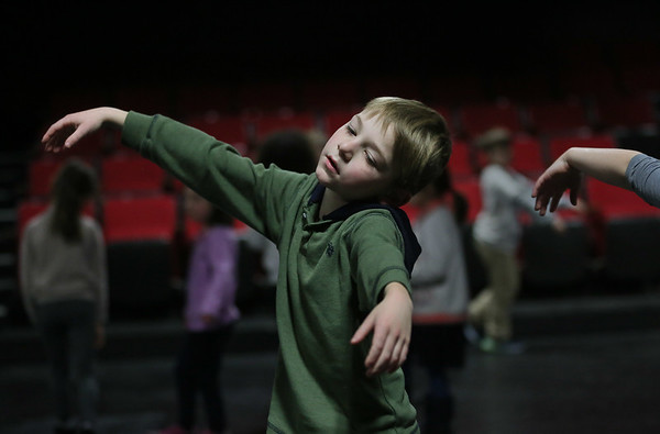 MIKE SPRINGER/Staff photo<br /> Seven-year-old Matthew Conners of Gloucester takes part in an acting exercise in the Gloucester Stage Company's Youth Acting Workshop at the Gorton Theatre.<br /> 2/9/2018
