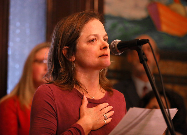 MIKE SPRINGER/Staff photo<br /> Writer and actor Laura Crook, one of a group of women who have stepped forward to accuse playwright Israel Horovitz of sexual misconduct, speaks Wednesday during the One Billion Rising rally in Gloucester City Hall.<br /> 2/14/2018