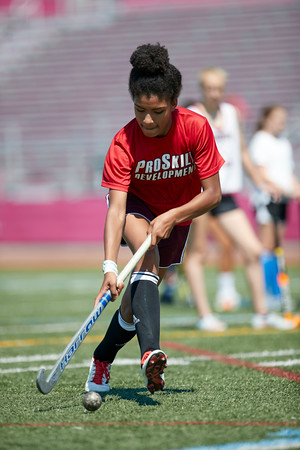 Alexia Welchmorris lines up a shot on goal at the Gloucester High School Youth FIeld Hockey Camp, Tuesday, July 10, 2018. Jared Charney / Photo