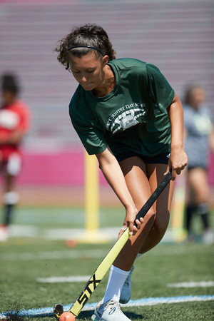 Madison Piraino-Novello lines up a shot on goal at the Gloucester High School Youth FIeld Hockey Camp, Tuesday, July 10, 2018. Jared Charney / Photo