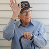 MIKE SPRINGER/Staff photo<br /> World War II veteran Michael Linquata, 91, waves to well-wishers while being recognized Monday at the VFW Post 1624 in Gloucester following the 2018 VFW Golf Open in his honor. Linquata was a 19-year-old Army combat medic in January of 1945, when he and 20 wounded men in his care were taken prisoner by the Germans during the Battle of the Bulge. He spent three months in a German prisoner of war camp before being liberated by advancing U.S. troops. He returned home to Gloucester, where he and his father established the Gloucester House restaurant.<br /> 7/9/2018