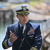 MIKE SPRINGER/Staff photo<br /> U.S. Coast Guard Captain Eric Doucette, sector commandor of the Port of Boston, which includes the Cape Ann region, speaks during a ceremony Tuesday in Manchester announcing a $4 million dredging program to benefit coastal areas.<br /> 7/24/2018