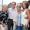 CARL RUSSO/staff photo. GLOUCESTER:  From left, Bea Shopp Waring of Rockport, the oldest living Miss America (1948) has her picture taken with her son in-law and Broadway stage actor, John Hillner;  Lindsay Crouse, an Acadamy Award-nominated actress and stage performer and Wendy Waring, Bea's daughter who is also a Broadway stage actor. John and his wife Wendy met while performing on Broadway and also have performed with the Gloucester Stage Co.  The Gloucester Stage Co. held their annual  2018 Gala on the Maritime Pier on Saturday (7/28) Dread Pirate (Artistic Director) Robert Walsh, enlisted an outstanding crew of swashbuckling performers to wow and immerse the audience with sword fights, sea songs, and a bit of rum. 7/28/2018
