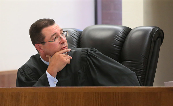 MIKE SPRINGER/Staff photo<br /> Judge Michael A. Patten on his first day Monday presiding over Gloucester District Court.<br /> 7/9/2018