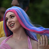 "MIKE SPRINGER/Staff photo<br /> Emily Whalen, who plays Aquata in the Annisquam Village Players' upcoming production of ""The Little Mermaid,"" dresses in her costume Tuesday for the 75th annual Fishtown Horribles Parade in Gloucester.<br /> 7/3/2018"