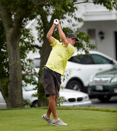 Tyler Conigliari tees off at the opening round at Bass Rocks Club Championship, Sunday July 15, 2018. Jared Charney / Photo