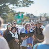 Rev. Sue Koehler Arsenault, 1st Congregational Rockport addresses Parishioners and fellow clergy to bring prayer and start a 24 hour fasting on Stacy Boulevard to protest recent immigration policies that separate families entering the US, July 8, 2018. Jared Charney / Photo