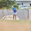 Jenny Ceppi tees off at the opening round at Bass Rocks Club Championship, Sunday July 15, 2018. Jared Charney / Photo